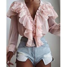 Verão feminino elegante chiffon camisa feminina elegante flounce topo cor sólida v-neck proteção solar de manga comprida blusa de fadas