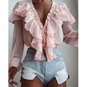 Summer Women Elegant Chiffon Shirt Female Stylish Flounce Top Solid Color V-Neck Sun protection long-sleeved fairy Blouse tie neck flounce blouse