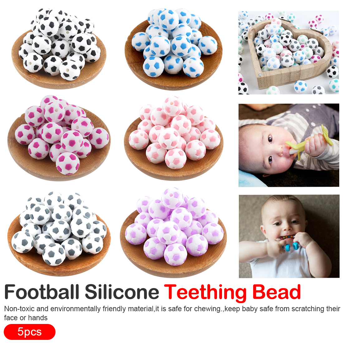 Football Baby Teether Silicone Beads 5PCS Food Grade Pacifier Clips DIY Teething Toy Latex Silicone Bead