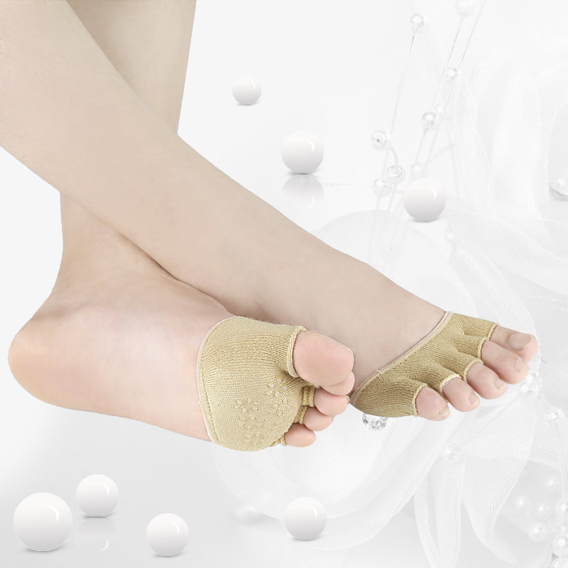 Half Grip Heel Five Finger Socks Invisible Non Slip Toe Socks Invisible Female Summer Cotton High-heeled Short Half Palm Socks