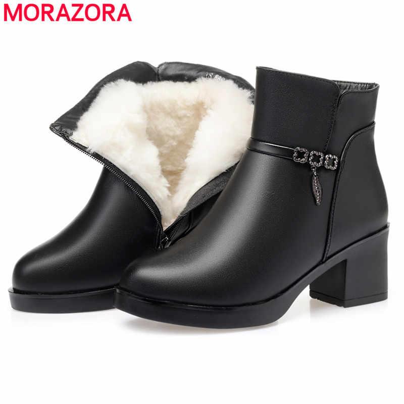 MORAZORA 2020 heißer natürliche wolle stiefeletten frauen high heels winter schuhe runde kappe warm halten schnee stiefel weibliche große größe 43