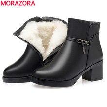 Morazora 2020 quente natural de lã botas de tornozelo feminino salto alto sapatos de inverno dedo do pé redondo manter botas de neve quente feminino tamanho grande 43