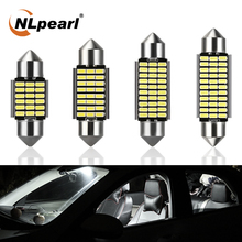 цена на NLpearl 2x T10 LED Signal Lamp 31mm 36mm 39mm 41mm Festoon LED Bulb 12V 3014SMD C5W Led Canbus Interior Dome Light Reading Lamp