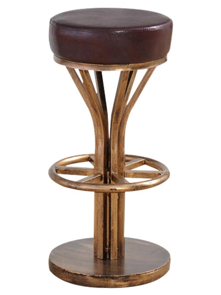 Retro Bar Stool American Iron Bar Chair Modern Simple Ktv Round Antique Copper High Stool Metal Bar Stool