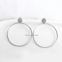 ZOBEI Minimalist Personality Hollow Round Dangle Drop Earrings For Women Authentic 925 Sterling Silver Fine Jewelry Accessories