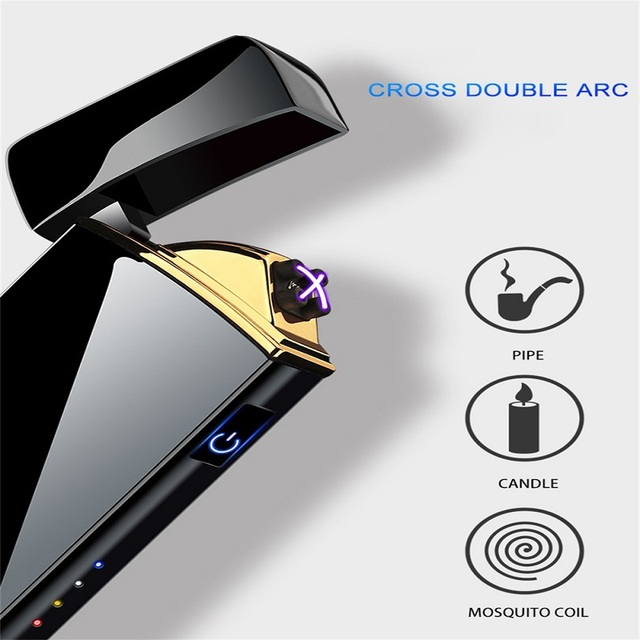 Electric Metal Lighters Windproof Dual Arc Plasma Rechargeable USB Lighter Disposable Smoking Cigarette Lighter For Men Gadgets 5