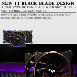Image 3 - Aigo V1 Cooler PC Case Fan 120MM Fan Cooling LED 12V Cooling Fan 3Pin Rainbow Halo Mute Cooler Master Cooling Computer Fans