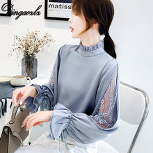 Dingaozlz mesh stitching lace tops korean 2019 new fashion long sleeve chiffon blouse casual clothing women chiffon shirt(China)