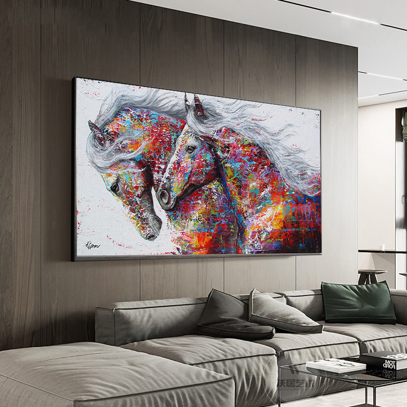 H32d29e86198947c49c85739bdf7e00beF SELFLESSLY Animal Art Two Running Horses Canvas Painting Wall Art Pictures For Living Room Modern Abstract Art Prints Posters