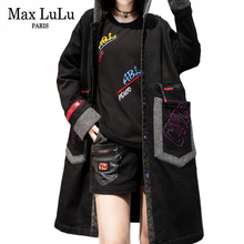 Max LuLu 2019 Luxury Korean Warm Streetwear Ladies Black Overcoat Women Vintage Denim Trenc