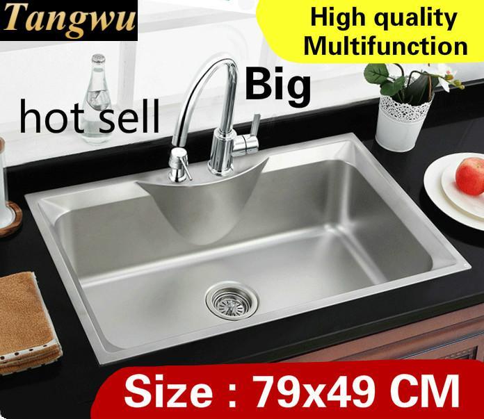 Livraison gratuite appartement luxe robinet extensible grande cuisine simple auge évier lavage légumes vogue 304 acier inoxydable 79x49 CM
