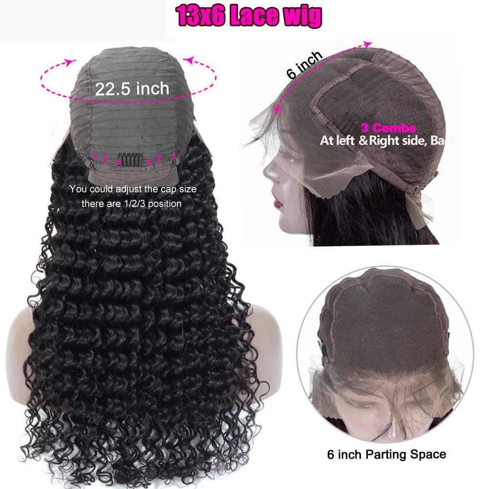 Pocałunek miłość głęboka fala peruki koronki przodu włosów ludzkich peruk dla czarnych kobiet pre oskubane kręcone ludzkie włosy peruki brazylijski peruki typu Lace Front