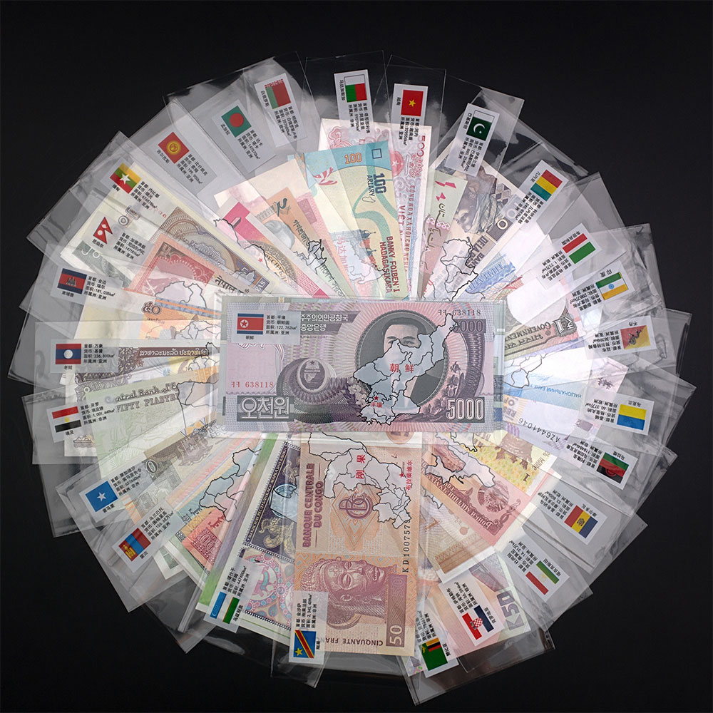 52Pcs Notes From 28 Countries UNC Real Original Banknotes Set(Expired) With Red Envelope World Note Replica Gift For Collection