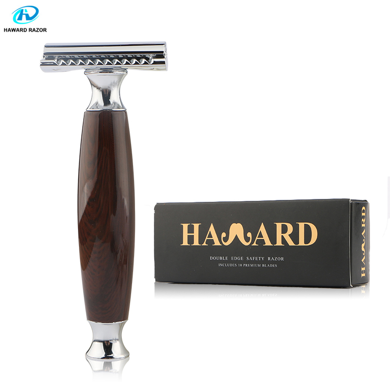 HAWARD Safety Razor Double-edged Razor Woodgrain Resin Handle Men's Classic Manual Shaver For Shaving&Hair Removal 10 Blades