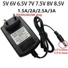 7 5 V 6V 6.5V V 7.5V 8V 8.5 V Adaptador De Energia Universal 110V 220V AC/DC 6 6.5 7 7.5 8 8.5 Volts V 1.5A 2A 2.5A 3A Fornecimento Adaptador