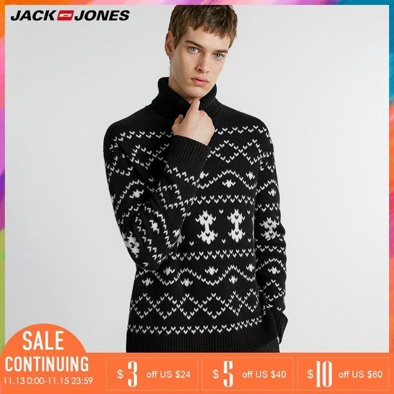 Jack Jones Winter Mens Loose Fit High-neck Patterned Knit Sweater| 218425523