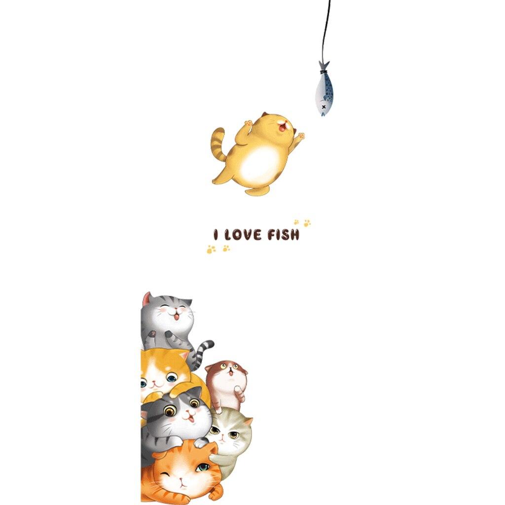 2020 nouveau dessin animé mignon chat porte stickers amovible mur autocollant armoire bébé pépinière enfants salon décor bricolage