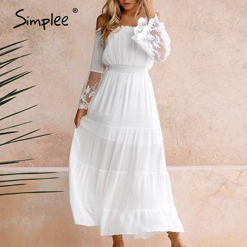 Simplee Sexy Off Shoulder Party Dress High Waist Long Sleeve Hollow Out Lace Dress Elegant Ladies Solid Evening Beach Dress 2020
