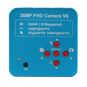 Image 3 - 3.5X 90X 더블 붐 스탠드 줌 Simul 초점 Trinocular 스테레오 현미경 + 38MP 2K HDMI USB 산업용 카메라 전화 PCB 수리
