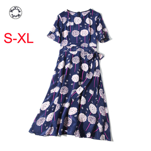 Silk dress high-end cultivate morality show thin full-ed dress casual mulberry silk printed pure silk dress S to XL