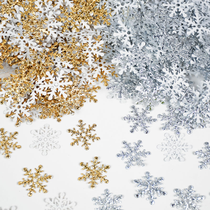 270-300pcs 2cm Artificial Snowflakes Christmas Decoration Ornaments Xmas Tree Dinner Table Scatter Laser Shiny Fake Snow Decor