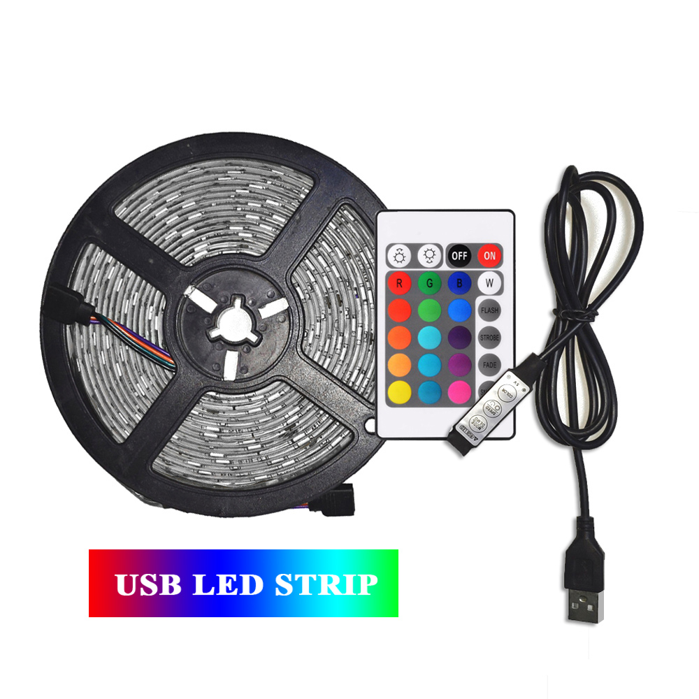 5M USB LED Strip 2835 RGB LED Strip DC 5V TV Background Flexible Light Lamp Remote Control Waterproof Color Changing Tape Lights