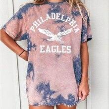 Tops deportivos informales para chica, Tops de talla grande con estampado de letras Tie Dye Pink Eagle, camiseta Vintage americana para mujer, camiseta de manga corta con cuello redondo 2021