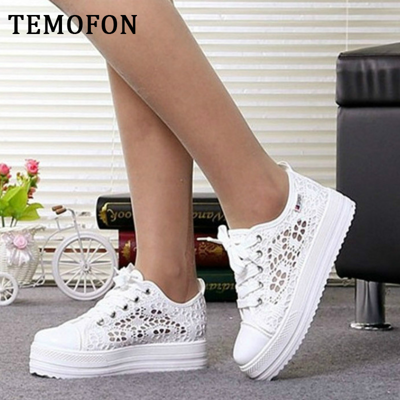 TEMOFON Women Casual Shoes Black White Casual Sneakers Breathable Women Shoes Lace Up Mesh Platform Sneakers Buty Damskie HBT902