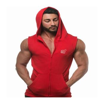 men tank tops Muscle Sleeveless Sportswear Mens Workout Gym Tank Top Hooded zipper cotton Bodybuilding tanktop Run Solid Vests