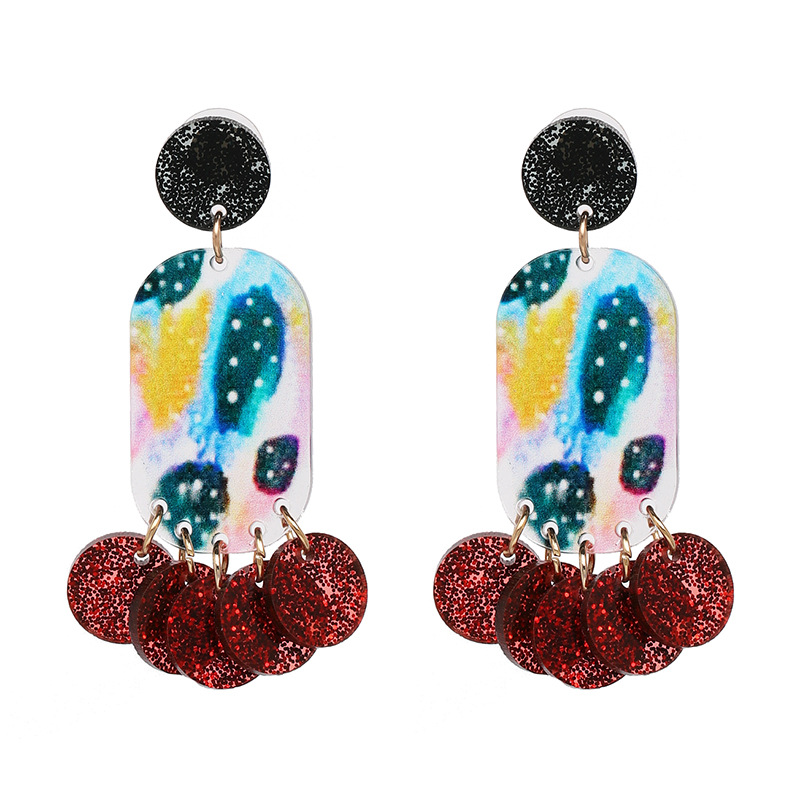 8Seasons New Exaggerated Multicolor Earrings Women Statement Resin Coloured Drawing Geometric Earrings Hot Jewelry,1 Pair