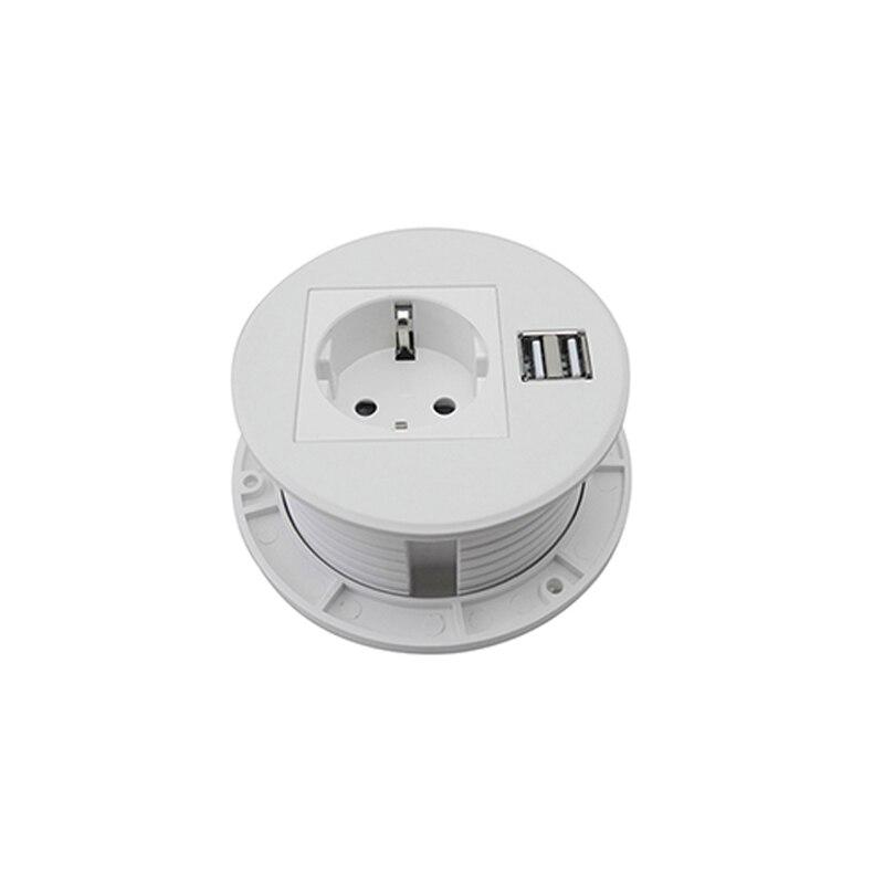 Prise de bureau polyvalent de puissance ronde blanche Pure avec 1 prise de courant de l'ue, Charge de 2 USB pour la cuisine d'hôtel de bureau adaptée aux besoins du client