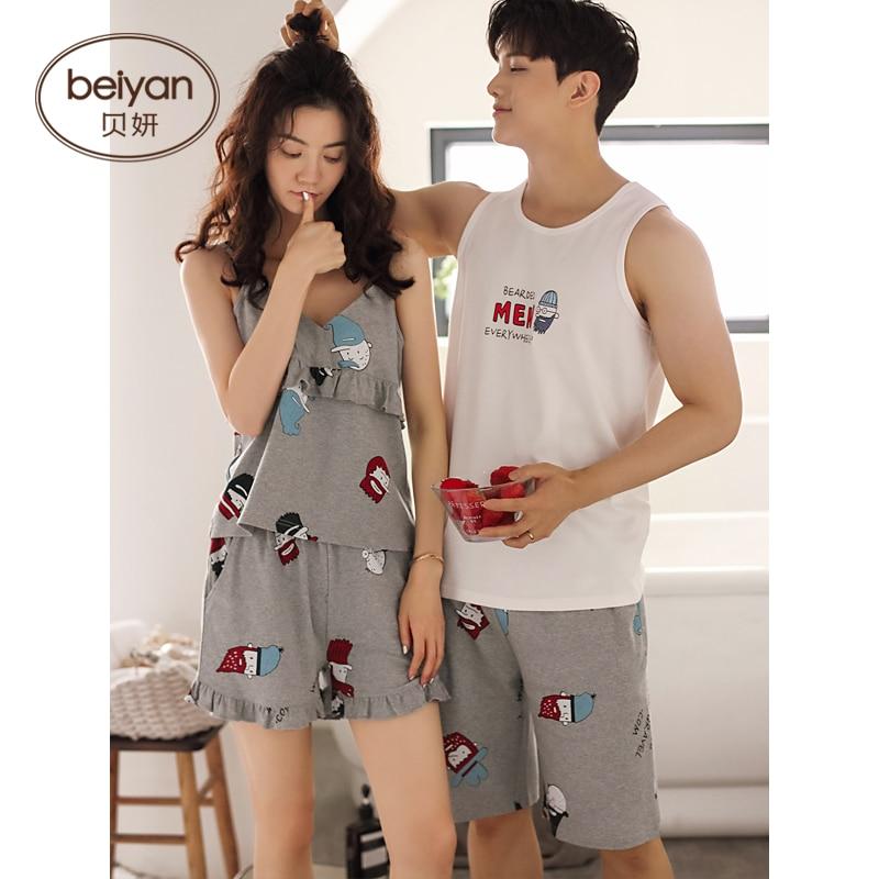 Summer Model Couple Pajamas Cute Cartoon Women Household Male's Sleepwear Vest Set