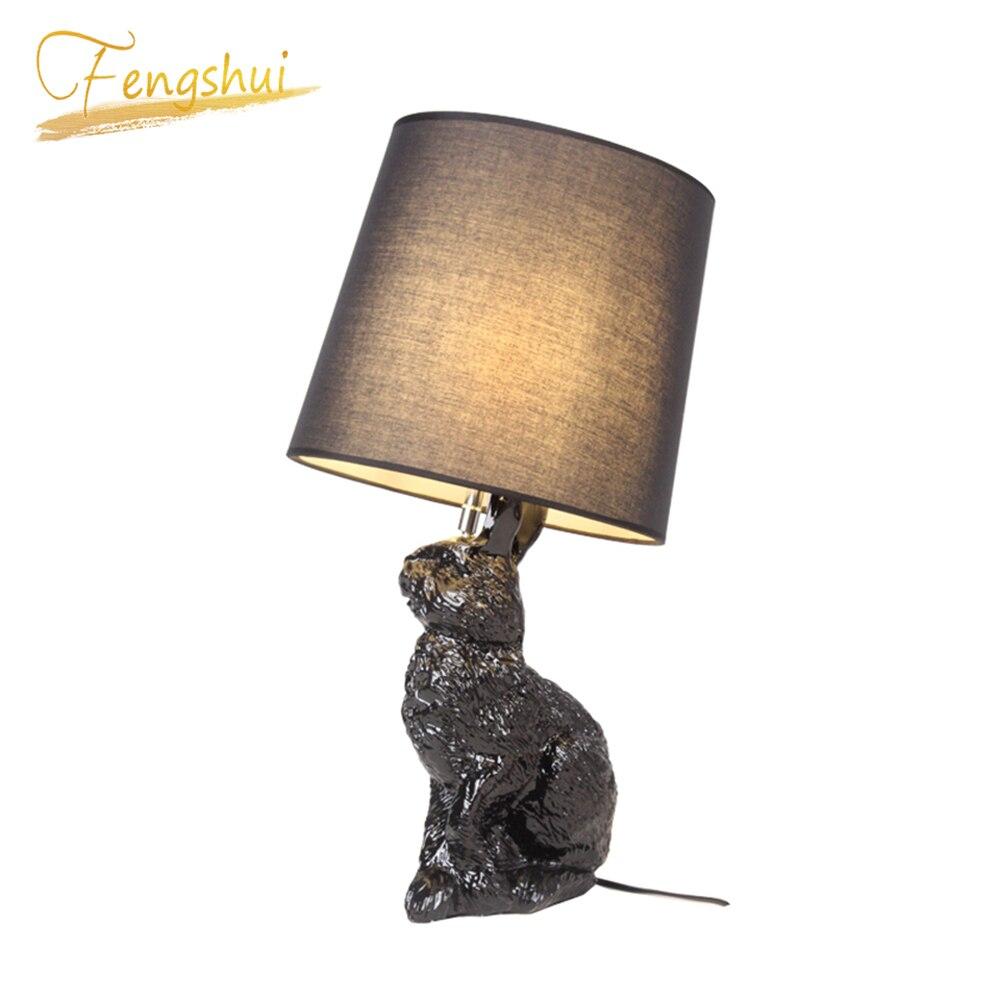 Modern Desk Lamp Art Resin Rabbit Shaped LOFT Lamps Table Lamps Bedroom Living Room Interior Decor Bedside Table Lights Lighting