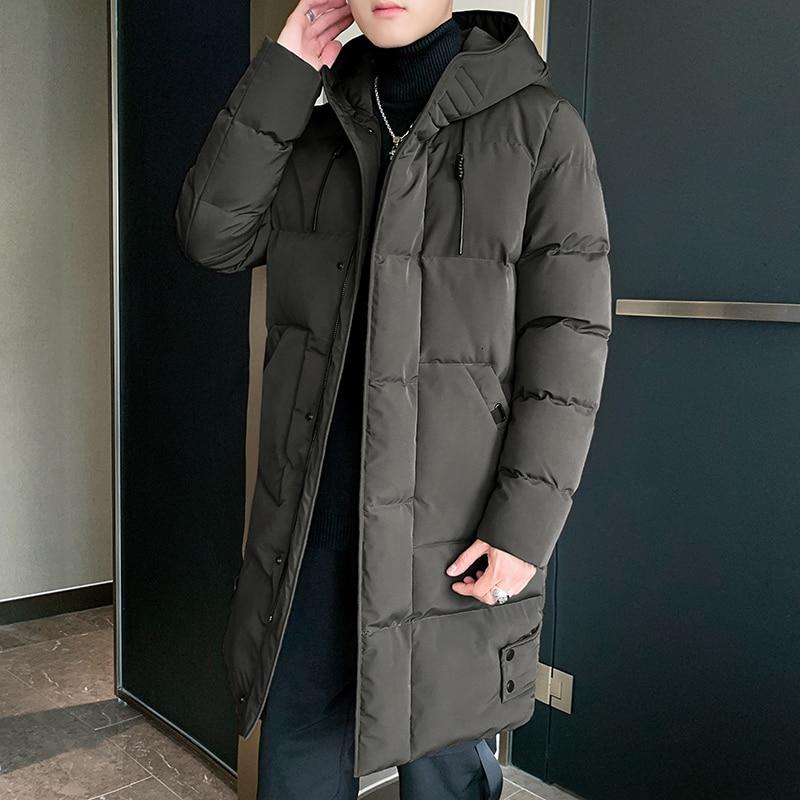Winter Coat Men's Warm Fashion Parka Men Solid Color Casual Hooded Coat Man Wild Loose Cotton Long Jacket Male Clothes M-4XL