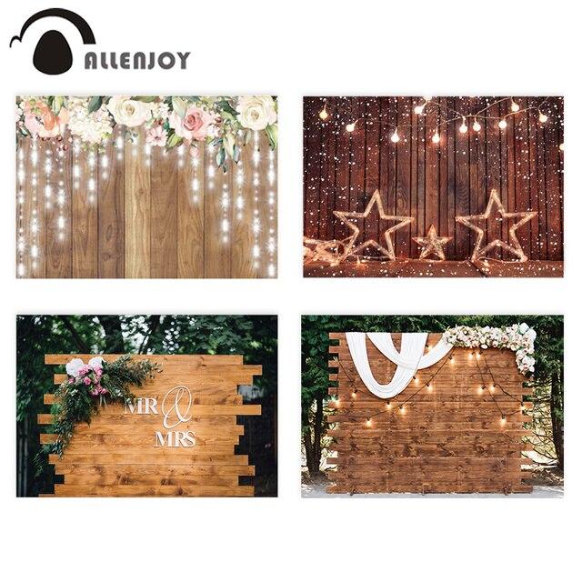 Allenjoy photographie toile de fond rustique mariage paillettes fleur plancher en bois fond anniversaire saint valentin Photozone décor