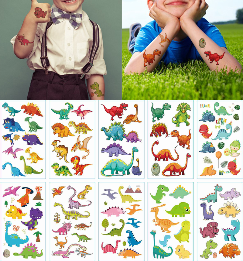 10 pçs dinossauro tyrannosaurus temporária tatoo adesivo à prova dwaterproof água tatuagem falsa tatuagens mão pé tatouage para crianças menino