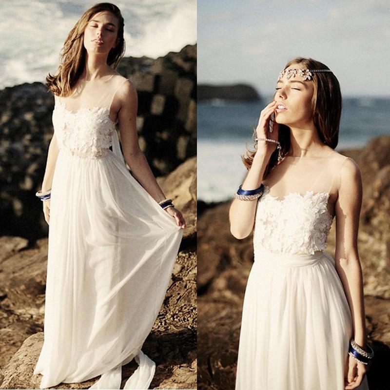 Actual Lmages Vestido De Noiva Casamento Sexy Backless Long Beach White Lace Chiffon Cheap 2018 Bridal Gown Bridesmaid Dresses