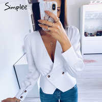 Simplee Elegant solid white women blouse shirts Vintage retro peplum v neck female blouses Puff sleeve casual slusa mujer top