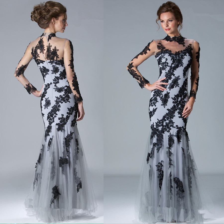 2018 New Gorgeous Gray Tulle Black Appliqued Lace Mermaid High Neck Long Sleeve Floor-length Formal Gowns Bridesmaid Dresses