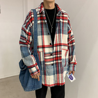 Check Flannel Shirt Men Long Sleeve Winter Casual Korean Loose Fashion Vintage Mens Shirts Plaid Oversized Male Tops And Blouses