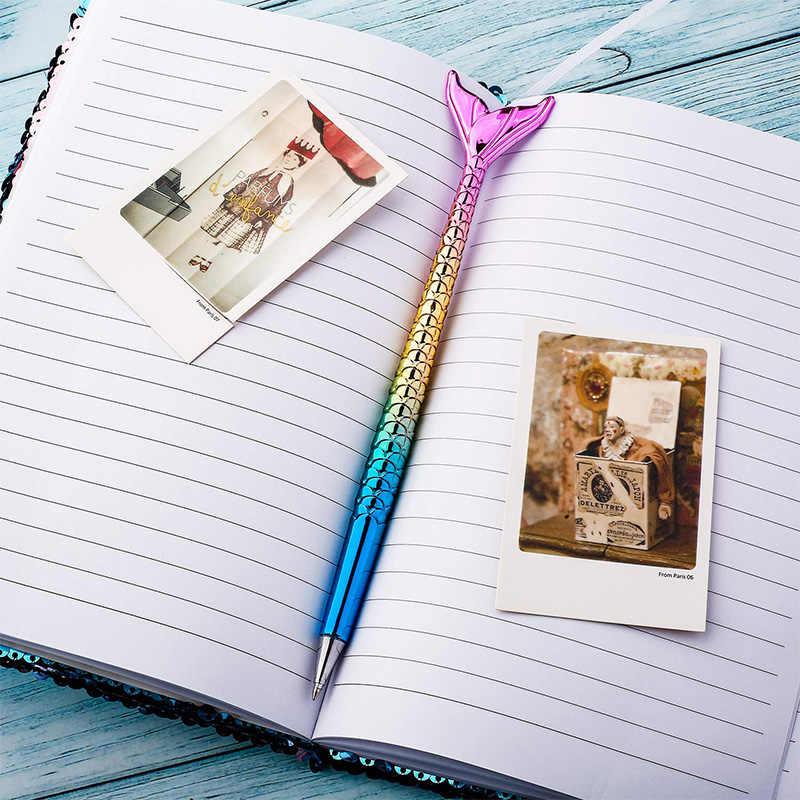 Caneta para crianças, mulheres, colegas de trabalho, anfitriã e namorada, festa caneta de presente de sereia caneta de peixe conjunto esferográfica caneta azul tinta caso presentes