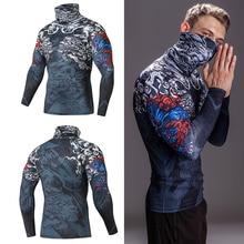 마스크와 높은 칼라 t 셔츠 Streetwear 체육관 남성 캐주얼 3D T 셔츠 피트니스 압축 셔츠 옷깃 속옷 열 남성 탑스