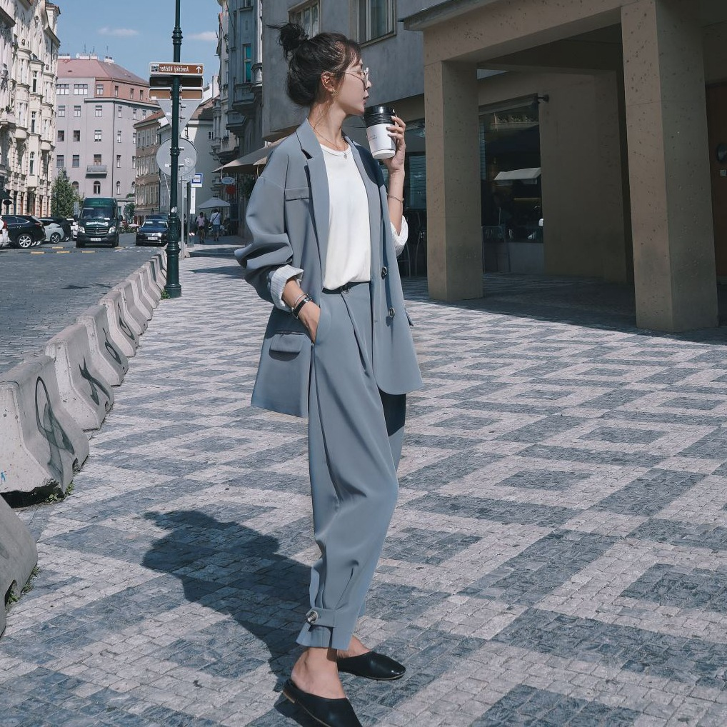 Photo Shoot Oversize High-waisted Wide-Leg Baggy Pants Two-Piece Women's Loose And Plus-sized Double Breasted Small Suit Coat OL