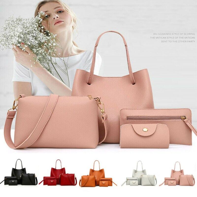 4PCS//Set Women Leather Handbag Shoulder Bag Messenger Satchel Wallet
