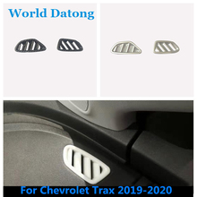 For Chevrolet Trax 2019-2020  Interior Dashboard Side AC outlet Air Vent Cover Carbon Fiber\Matte Silver 2pcs