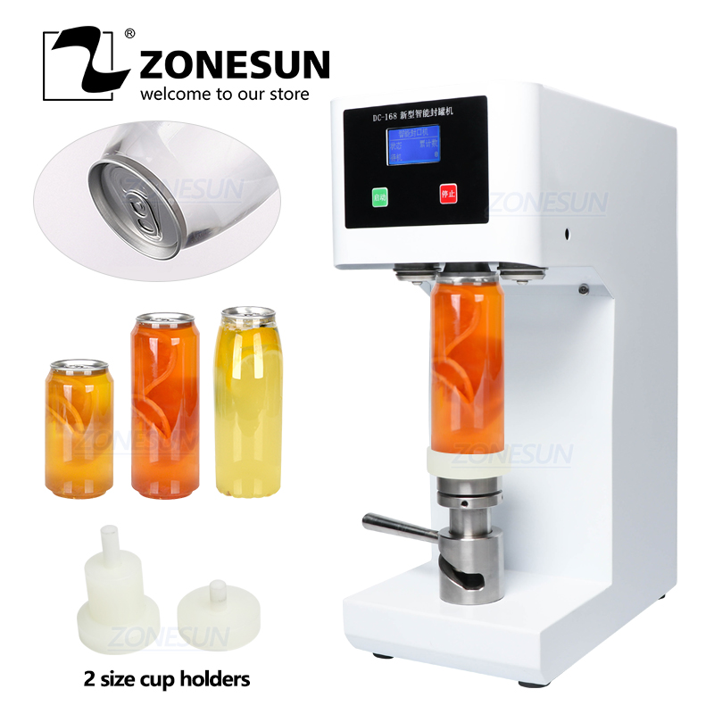 ZONESUN ZS-FK-168 Seamingl Aluminum Tin Beer Ring-Pull Cans Automatic Plastic Bottle Cap Induction Can Sealing Machine