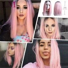 LM короткий Боб стиль парики Омбре черный смешанный фиолетовый розовый зеленый коричневый прямые 14 ''волосы парики для женщин синтетический парик косплей