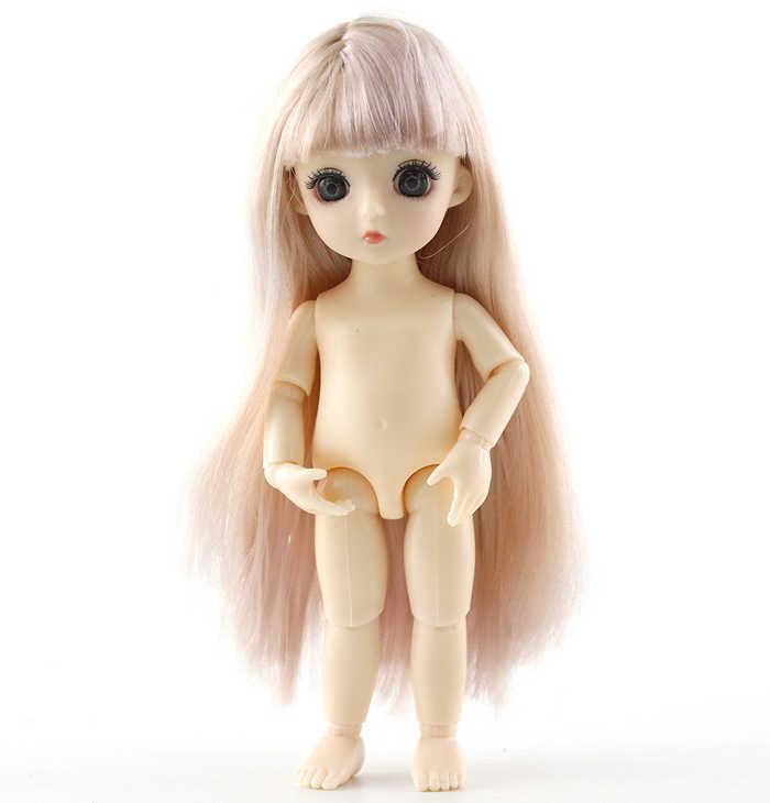 13 可動ジョイント 16 センチメートル 1/8 人形ミニ BJD ベビードールピンク黄色シルバー毛裸女性ボディファッション人形のおもちゃギフト