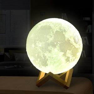 Перезаряжаемые Луны лампы 2 Цвет изменения 3D светильник сенсорный выключатель 3D печати лампы Moon Спальня Этажерка ночной Светильник творческие подарки