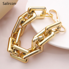 Salircon Exaggerated Big Chunky Charm Bracelet Bangle For Women Gold Color Square Chain Bracelet Hip Hop Friendship Hand Jewelry billie eilish bad guy bracelet popular young singer art picture hip hop music glass cabochon chain bangle jewelry for fans gift